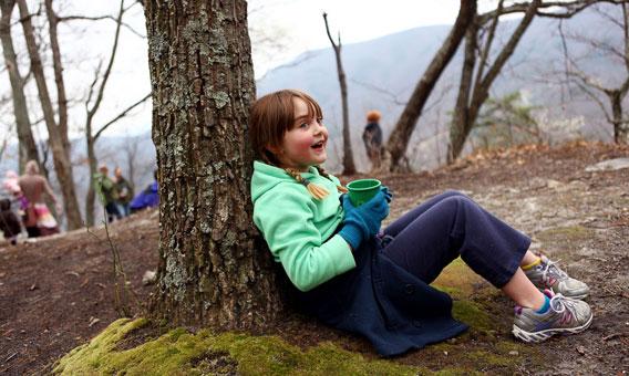 drinking tea camping
